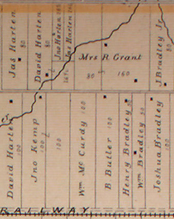 Detail from the 1879 Belden Atlas. The McCurdy farm stretched along what's now Iber Road, from Hazeldean to the railrooad tracks (now the Trans Canada Trail). Kemp's Tavern (now Cabotto's) is marked on the map just to the west of the McCurdy's. Joshua Bradely's House, to the east, is still standing too. It's the brick farmhouse at the Bradley-Craig farm. David Hartin's house to the north is now the Winds of Change Day Spa on Cedar Row. The Grant farm, was bulldozed to build the big box stores (including Grant's Crossing) and part of the Fairwinds subdivision.
