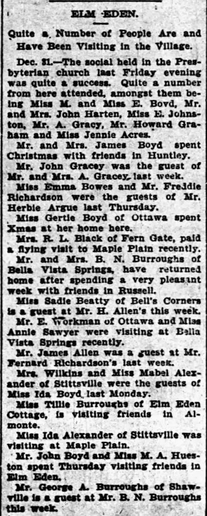 Ottawa Journal, January 1899.