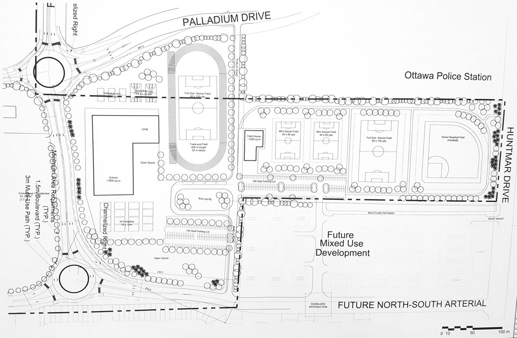Concept map showing a possible configuration for the high school and district park at 195 Huntmar.