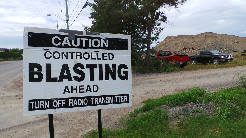 Controlled Blasting signage