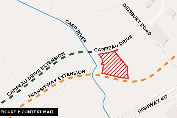 Map showing the location of the proposed development, just north of the Queensway.