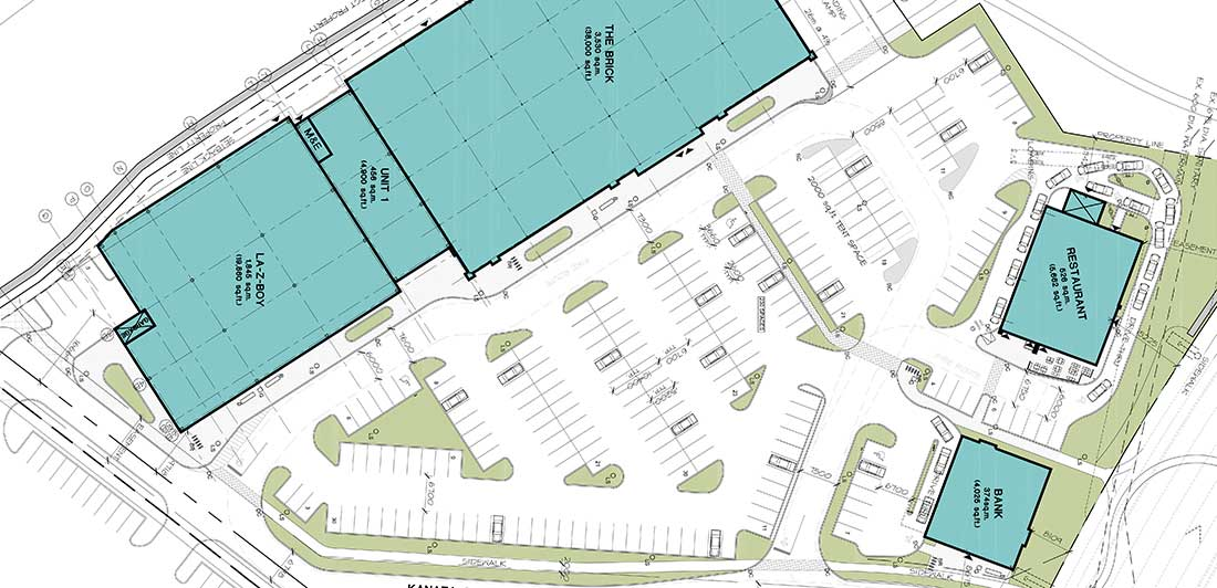 Proposed site plan for the development north of the Queensway