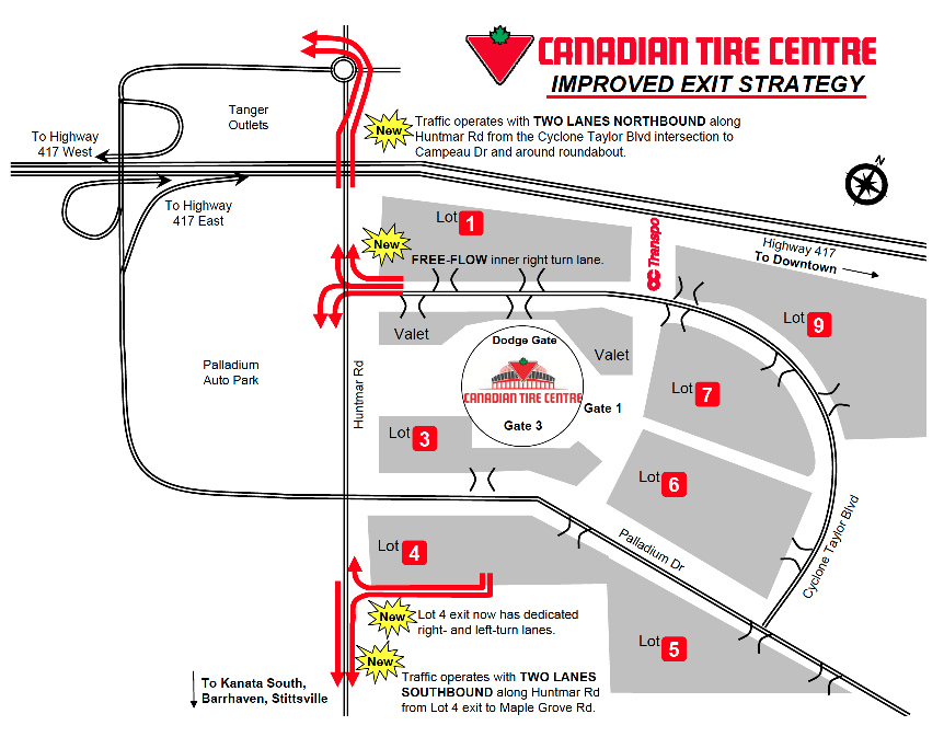 Traffic egress plans for Canadian Tire Centre after Senators games. (