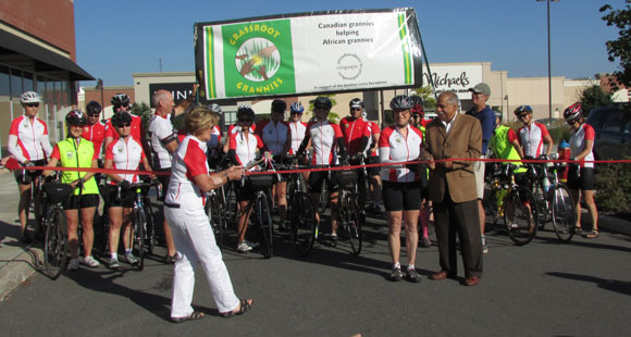 The Grassroots Grannies at the starting line of the 260 kilometer tour on September 3.