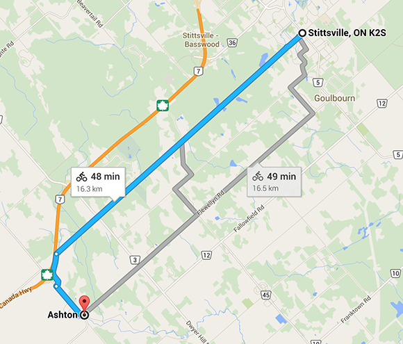 The route from Stittsville to Ashton