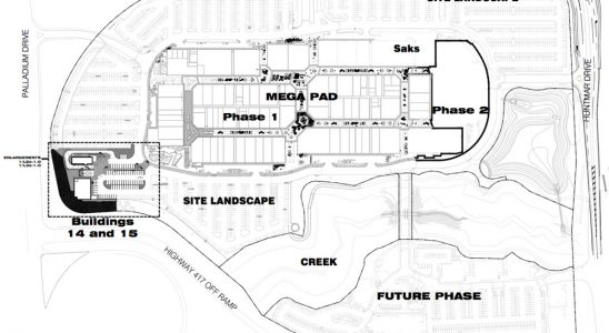 Two new buildings proposed for Tanger Outlets would be home to a Starbucks and a stakehouse