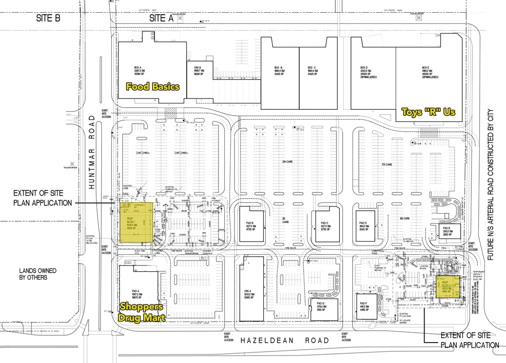 5075 Hazeldean Road site plan with two proposed new buildings.