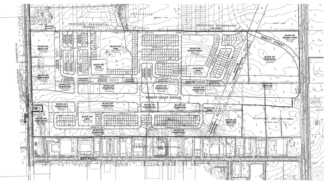 Proposed subdivision plan for 5618 Hazeldean Road. Click for larger size.