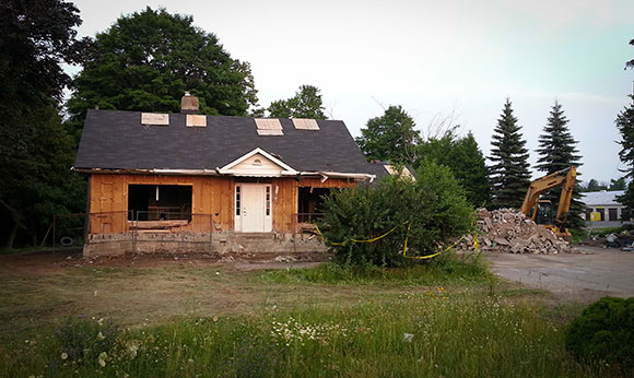 The old house at 5830 Hazeldean Road on Monday. Photo by Barry Gray.