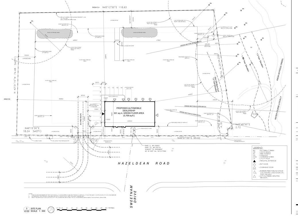 Site plan proposed for 5835 Hazeldean Road. Click for larger size.