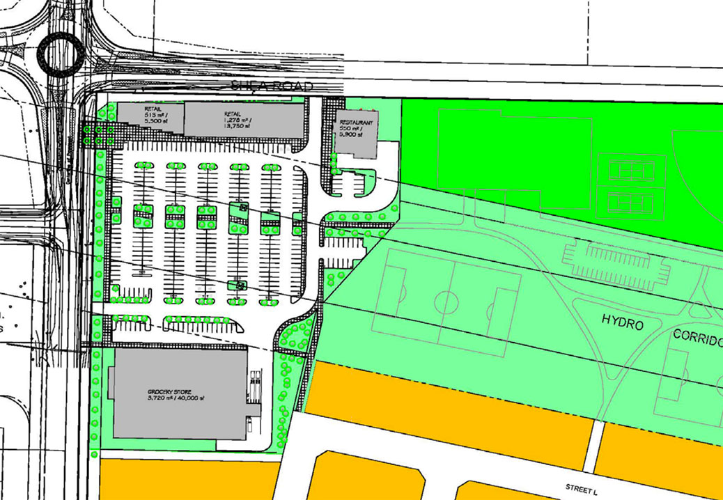 Map of the proposed development at 5960 Fernbank Road. Shea runs from left to right across the top of the map, and Fernbank runs from top to bottom. The proposed grocery store is the large block at the bottom left. (Click map for larger size.)