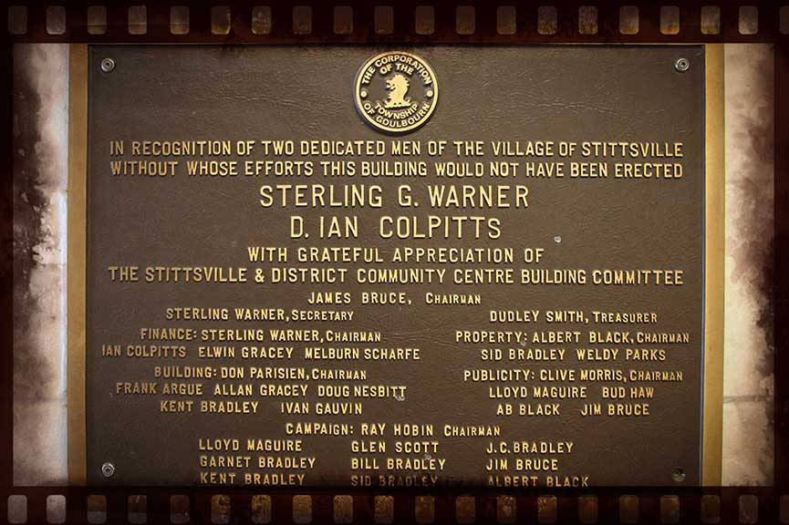 Plaque inside the arena recognizing Sterling Warner and Ian Colpits, who were instrumental in the community fundraising and contruction of the arena. Barry Gray (for StittsvilleCentral)