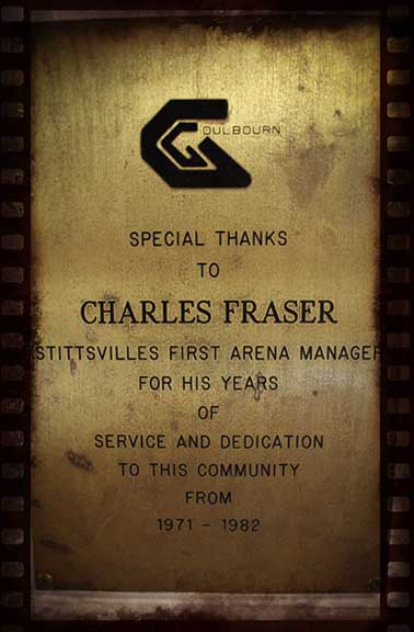 Plaque inside the arena for Charles Fraser, the first arena manager. Barry Gray (for StittsvilleCentral)