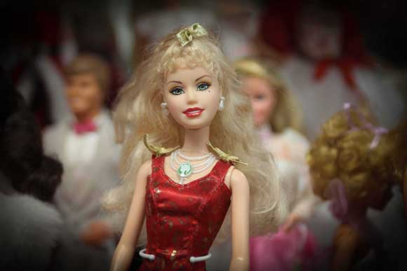 Some of the Barbies on display at the Flea Market & Kondruss Galleries on Carp Road.   (Photo by Barry Gray/For StittsvilleCentral.ca)