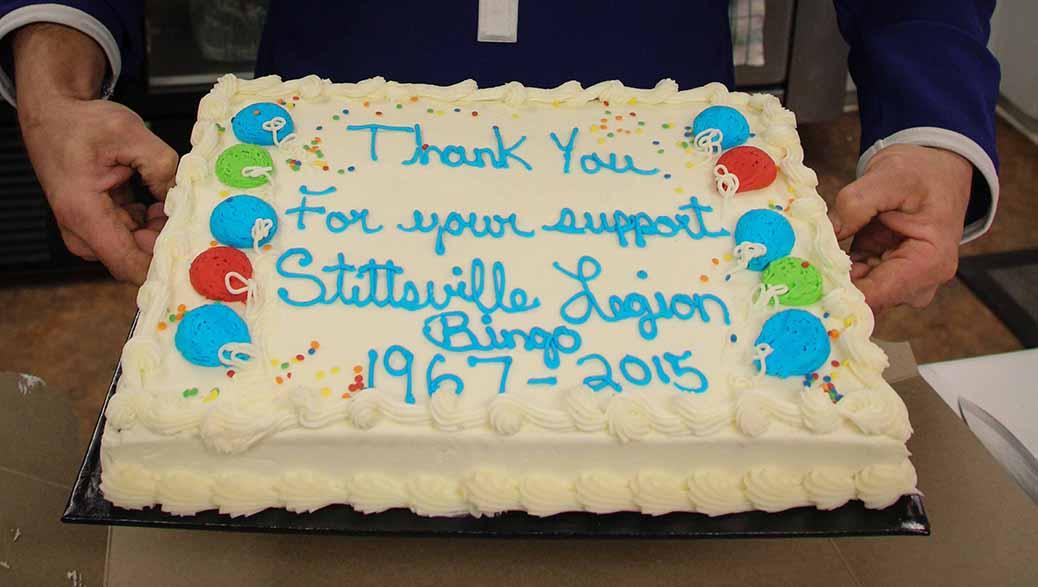STITTSVILLE, ON. December 16. 2015. Celebration cake for the bingo plaers. Barry Gray (For StittsvilleCentral).