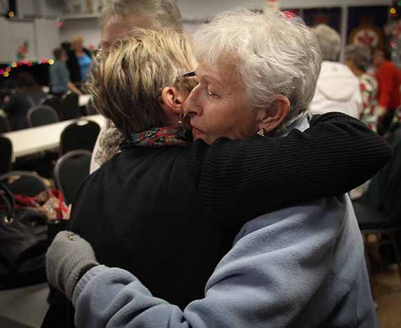 STITTSVILLE, ON. December 16. 2015. Hugs for Sue McCormick the Bingo chairman at the Stittsville Legion. Barry Gray (For StittsvilleCentral).