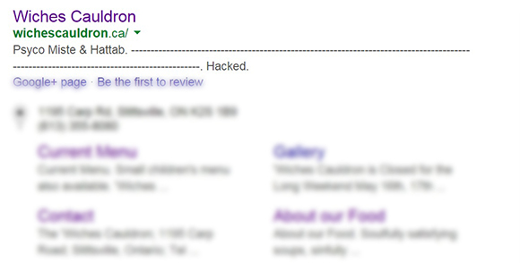 Google Search shows remnants of hack to 'Wiches Cauldron website. (via Google Search)