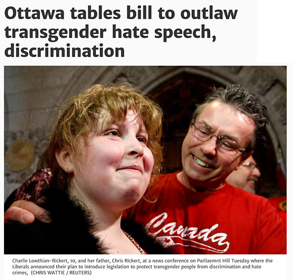 "Screen capture from the Toronto Star: ""Charlie Lowthian-Rickert, 10, and her father, Chris Rickert, at a news conference on Parliaemnt Hill Tuesday where the Liberals announced their plan to introduce legislation to protect transgender people from discrimination and hate crimes. (CHRIS WATTIE / REUTERS) """