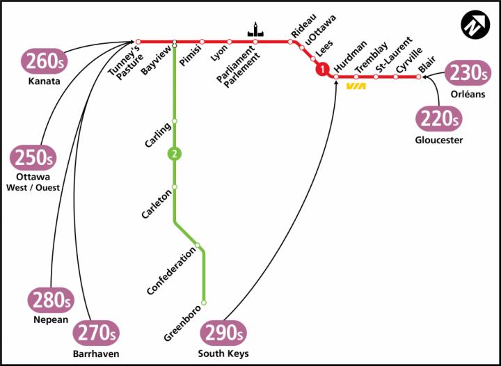 New OC Transpo connexion routes
