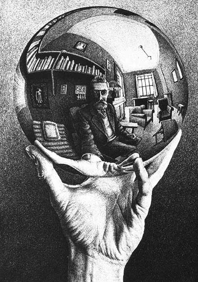 M.C. Escher Hand with Reflecting Sphere, January 1935 lithograph on silver coated wove paper. Photographed by Barry Gray.