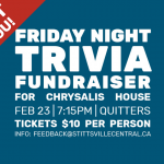 FEBRUARY 23: Friday Night Trivia fundraiser for Chrysalis House