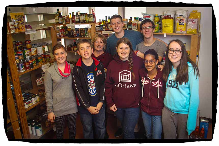 STITTSVILLE, ON, November 1, 2015. Stittsville Food Bank volunteers Front Row L-R: Kayla Robinson, Connor Meek, Caroline Frost, Shaheen Aziz, Gillian Smith, Back Row, L-R: Theresa Qadri (Chair), Adam McCaw, Quentin Pickett. (Barry Gray/StittsvilleCentral)
