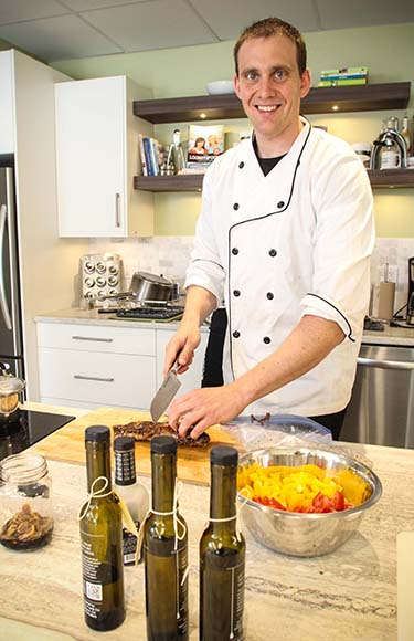 Chef Philip Munk in the Healthy Balance kitchen.