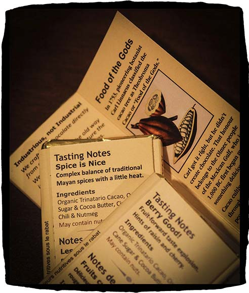 ALMONTE, ON. March 3, 2015.  The back of chocolate bars from Hummingbird Chocolate Maker with ingredients and tasting notes.  (Photo by Barry Gray/For StittsvilleCentral.ca)
