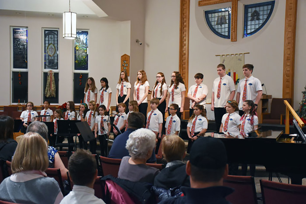 The Jubilee Juniors performing on stage at a December 2016 Christmas performance.