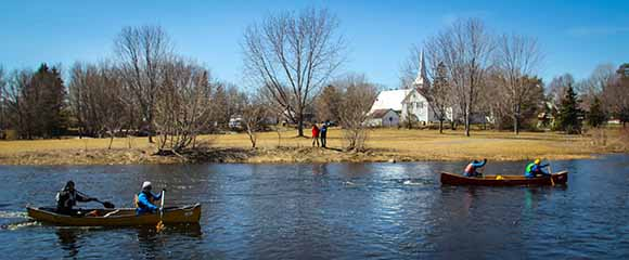 RICHMOND, ON. April 9, 2016. Paddlers passing the church in Richmond and nearing the finish. Barry Gray (StittsvilleCentral)
