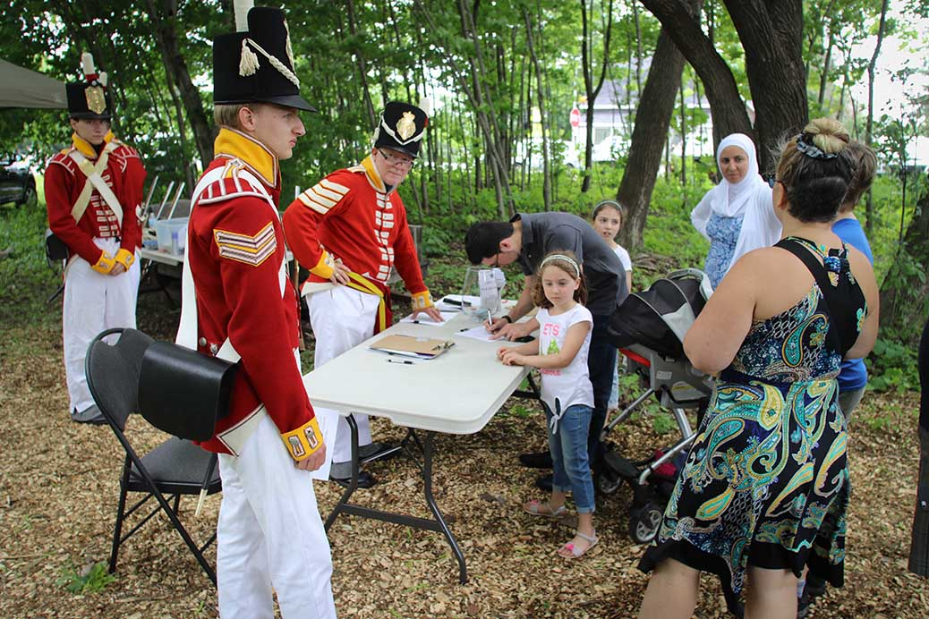 Signing up for live musket shooting. Photo by Barry Gray.