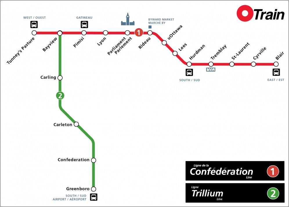 Ottawa O-Train map