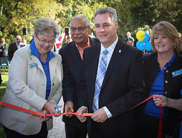 STITTSVILLE, ON, October 8, 2015. W. J. Bell Rotary Peace Park.  Stittsville Rotary President Rosemary Brummell cuts the ribbon with Shad Qardi, Deprty Mayor Mark Taylor and Rotary member Teresa Qadri.    Barry Gray (StittsvilleCentral)