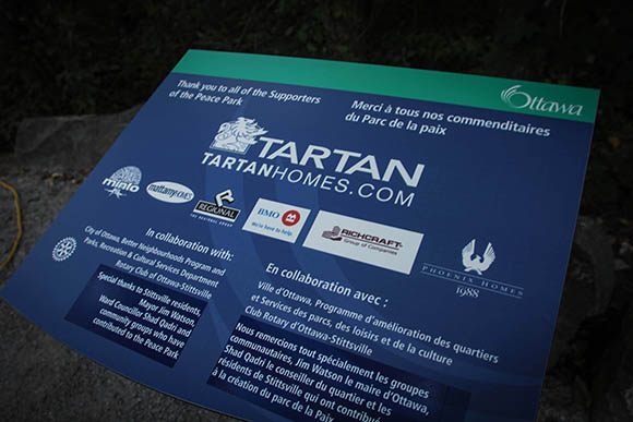 STITTSVILLE, ON, October 8, 2015. W. J. Bell Rotary Peace Park.   Sponsors plaque   Barry Gray (StittsvilleCentral)