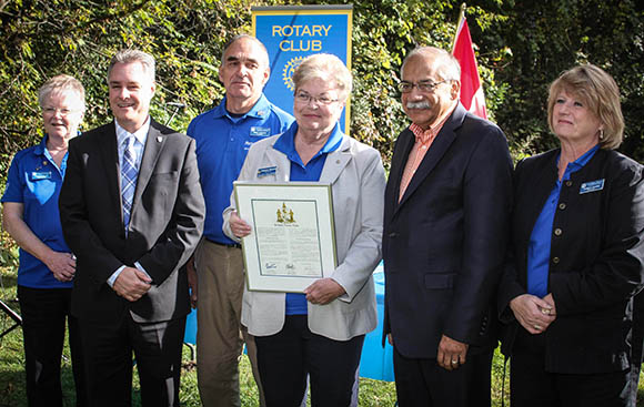 STITTSVILLE, ON, October 8, 2015. W. J. Bell Rotary Peace Park.  Deputy Mayor MArk Taylor (second from left) with Stittsville Rotary President Rosemary Brummell (with plaque) and Shad Qardi    Barry Gray (StittsvilleCentral)