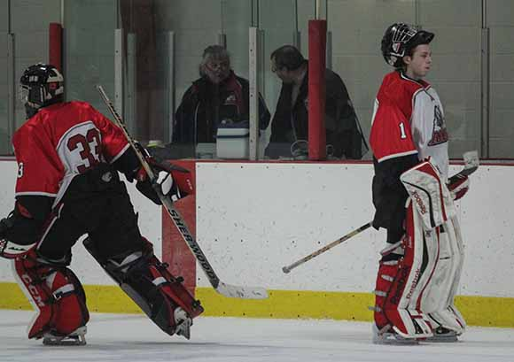 Rams goalie #1 Connor Ellis is pulled midway in the second period and replaced by #33 Matt Couvrette.