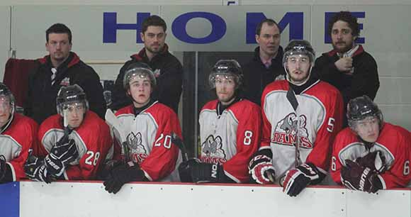Rams bench late in the third period trailing the Casselman Vikings.