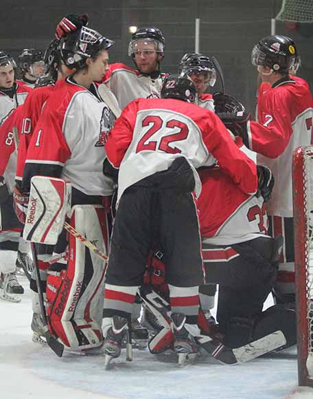 Stittsville Rams Jr B players after loosing 8-1 in Game 6 of the playoffs and and being knocked out of the finals.