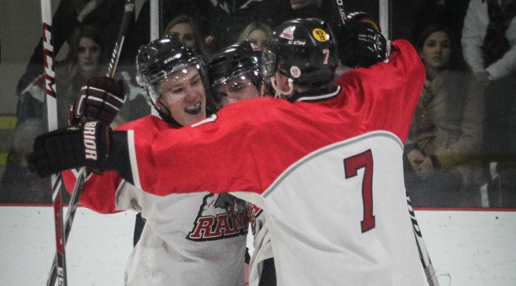 tittsville Rams players celebrate a tieing goal midway through the first perid. Stittsville went on to win 6-3 over CasselmanVikings. (Photo by Barry Gray/For StittsvilleCentral.ca)
