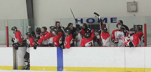 Stittsville Rams coaches and players celebrate a late third period goal that put them in a 4-3 lead over Arnprior Packers.  The excitement was premature as the goal was called back.  Stittsville Rams went on to beat Arnprior Packers 4-3 in the second overtime period.
