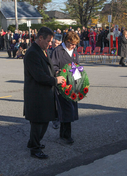 Stittsville Legion's Silver Cross Mother prepares to lay a wreath. Photo by Barry Gray