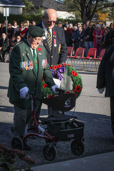 Stittsvill Legion member Johnmy Leroux (left) and Randy Reid (right) prepare to lay a wreath. Photo by Barry Gray