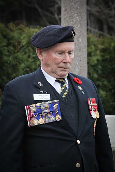 STITTSVILLE, ON. November 11, 2015. Vetran Ron Currie during Last Post. (Barry Gray/ StittsvilleCentral)