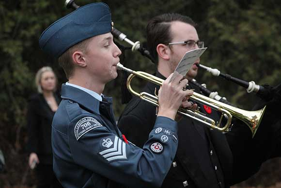 STITTSVILLE, ON. November 11, 2015. Air Cadet Patrick Philipson plays Last Post. (Barry Gray/ StittsvilleCentral)