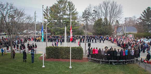 STITTSVILLE, ON. November 11, 2015. Overall view of the Cenetoph during the ceremoneis. (Barry Gray/ StittsvilleCentral)