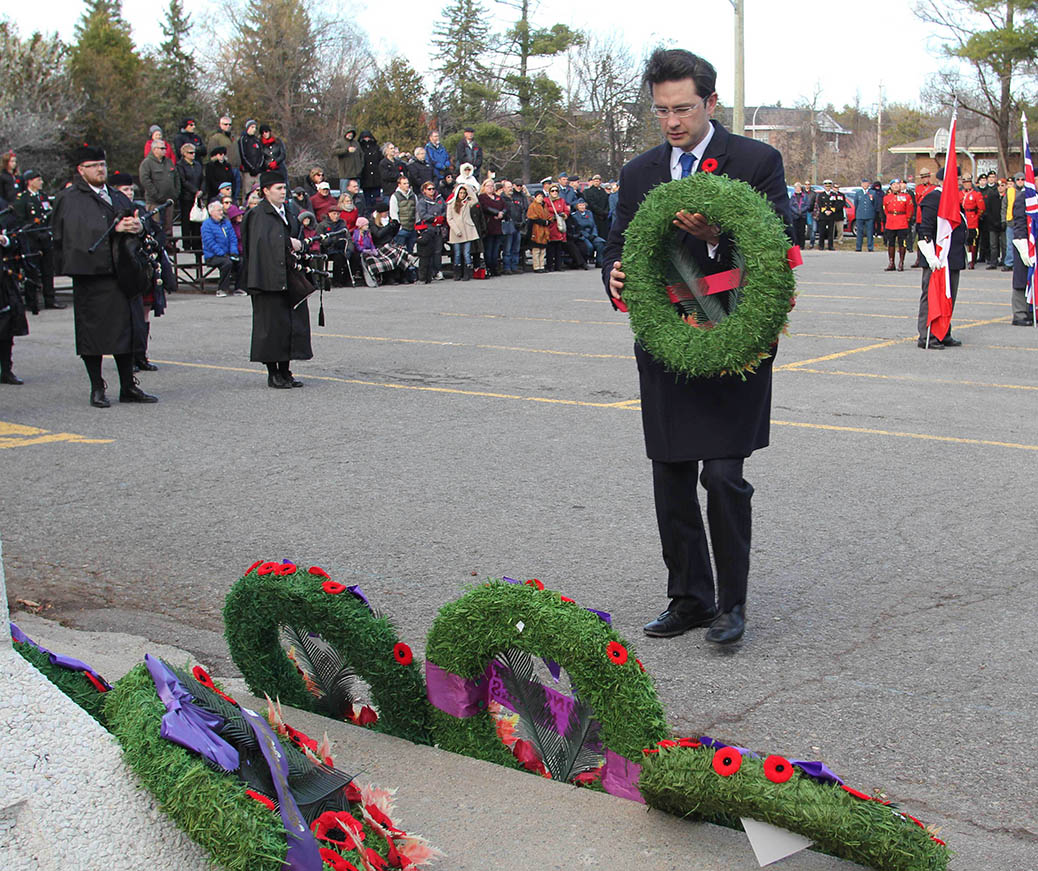 STITTSVILLE, ON. Nov.11 2016. MP Pierre Pollievre places a wreath for the Federal Government. Barry Gray (StittsviilleCentral)