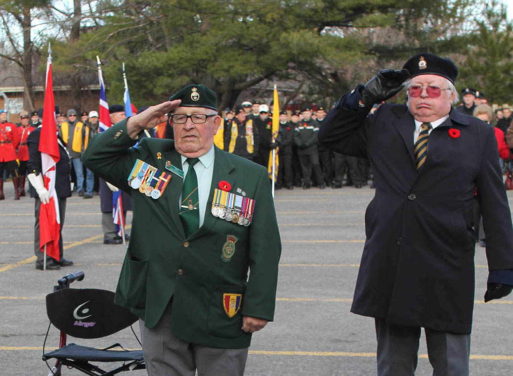STITTSVILLE, ON. Nov.11 2016. Korean War Veteran and long time Stittsville Legion memember accompanied by Legion Lonnie Burse. Barry Gray (StittsviilleCentral)