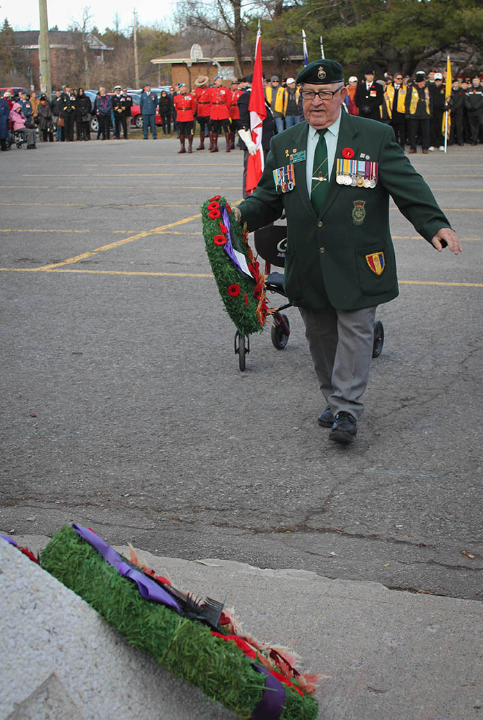 STITTSVILLE, ON. Nov.11 2016. Korean War Veteran and long time Stittsville Legion member Johnny Leroux places a wreath for the Korean Veterans Association. Barry Gray (StittsviilleCentral)