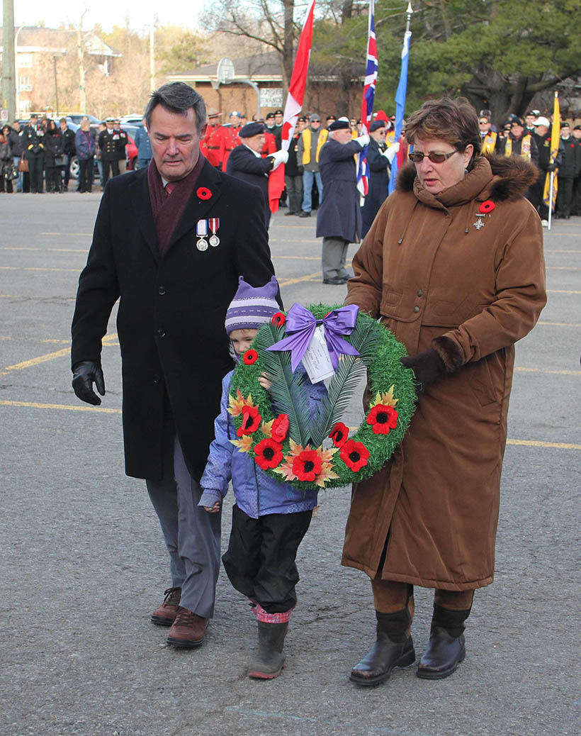 STITTSVILLE, ON. Nov.11 2016. Silver Cross Parents Richard and Claire Leger accompanied by their grand daughter Samantha MacDonald. Barry Gray (StittsviilleCentral)