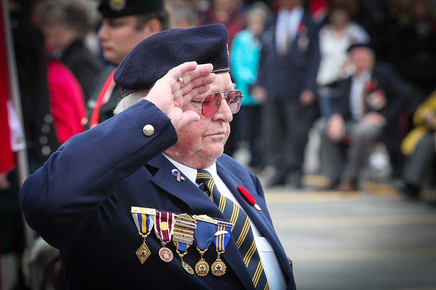 Veteran Lonnie Burse at the Remembrance Day Ceremony at the Stittsville Cenotaph. Photo by Barry Gray.